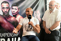 Arthur Abraham speaks during a Press Conference at the Sky Bar, Hilton Hotel on 13th July 2017