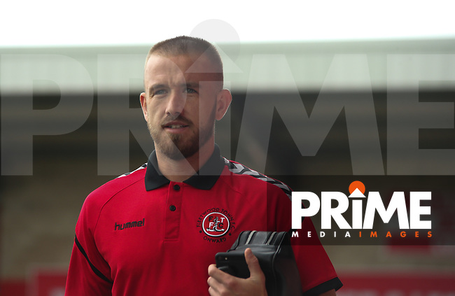 Patrick Madden of Fleetwood Town arrives ahead of the Sky Bet League 1 match between Fleetwood Town and Rochdale at Highbury Stadium, Fleetwood, England on 18 August 2018. Photo by Stephen Gaunt / PRiME Media Images.
