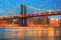 View under the Manhattan Bridge of the East River and lower Manhattan, as seen from Brooklyn Bridge Park. The image was creatively modified to resemble a painting.