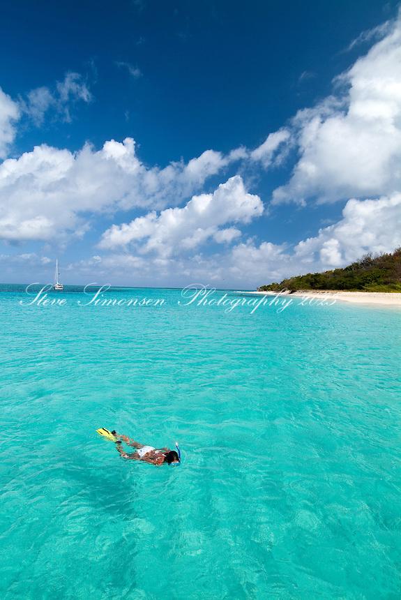 Snorkeler at Buck Island<br /> St Croix, US Virgin Islands