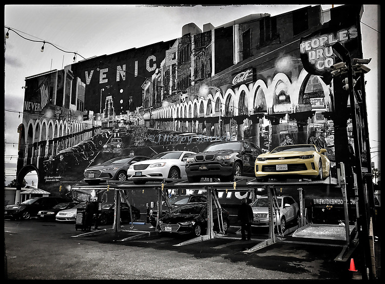 Came across the cool photo of stacked parking in Venice Beach Ca., this photo had a black and white feel to it, i took this photo in color with my iPhone7plus, this photo was taken on one of my photo walk about's in Venice Beach California on December 30, 2016. ©Fitzroy Barrett