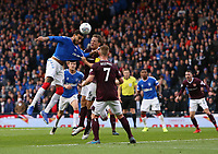 3rd November 2019; Hampden Park, Glasgow, Scotland; Scottish League Cup Football, Rangers versus Heart of Midlothian; Christophe Berra of Heart of Midlothian gets a grip of Connor Goldson of Rangers in the penalty box - Editorial Use