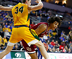 SIOUX FALLS, SD - MARCH 7: Robert Jones #21 of the Denver Pioneers looks to get the ball past Rocky Kreuser #34 of the North Dakota State Bison at the 2020 Summit League Basketball Championship in Sioux Falls, SD. (Photo by Richard Carlson/Inertia)