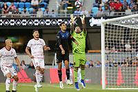 SAN JOSE, CA - JULY 06: Chris Wondolowski #8, Nick Rimando #18 during a Major League Soccer (MLS) match between the San Jose Earthquakes and Real Salt Lake on July 06, 2019 at Avaya Stadium in San Jose, California.