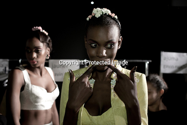 CAPE TOWN, SOUTH AFRICA - JULY 26: Models wait backstage before a fashion show with the designer label Gavin Rajah at the Mercedes Benz Cape Town Fashion Week on July 26, 2012, in Cape Town, South Africa. Some of South Africa's finest designers showed their 2012-13 spring and summer collections during the 4-day event. (Photo by Per-Anders Pettersson)