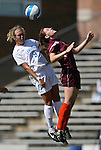 North Carolina's Whitney Engen (9) and Virginia Tech's Lindsay Alexander (r) challenge for a header on Sunday, October 15th, 2006 at Fetzer Field in Chapel Hill, North Carolina. The University of North Carolina Tarheels defeated the Virginia Tech Hokies 1-0 in an Atlantic Coast Conference NCAA Division I Women's Soccer game.