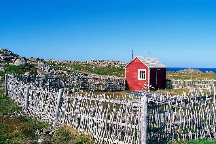 Cape Bonavista, Newfoundland and Labrador, Canada - Shed and Old Style Quiggly Fence (a traditional Newfoundland windbreak made of vertically woven whips or saplings, aka 'Riddled' Fence or 'Rigglin' Fence) enclosing a Garden and Yard on the Bonavista Peninsula