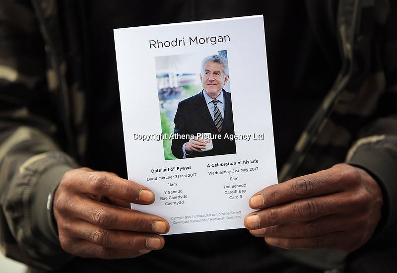 """Pictured: The order of service. Wednesday 31 May 2017<br />Re: The funeral for former first minister Rhodri Morgan has taken place in the Senedd in Cardiff Bay.<br />The ceremony, which was open to the public, was conducted by humanist celebrant Lorraine Barrett.<br />She said the event was """"a celebration of his life through words, poetry and music"""".<br />Mr Morgan, who died earlier in May aged 77, served as the Welsh Assembly's first minister from 2000 to 2009.<br />He was credited with bringing stability to the fledgling assembly during his years in charge.<br />It is understood Mr Morgan had been out cycling near his home when he died."""