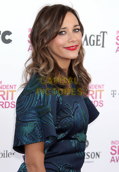 Rashida Jones.2013 Film Independent Spirit Awards - Arrivals Held At Santa Monica Beach, Santa Monica, California, USA,.23rd February 2013..indy indie indies indys half length side green blue print dress red lipstick .CAP/ADM/RE.©Russ Elliot/AdMedia/Capital Pictures