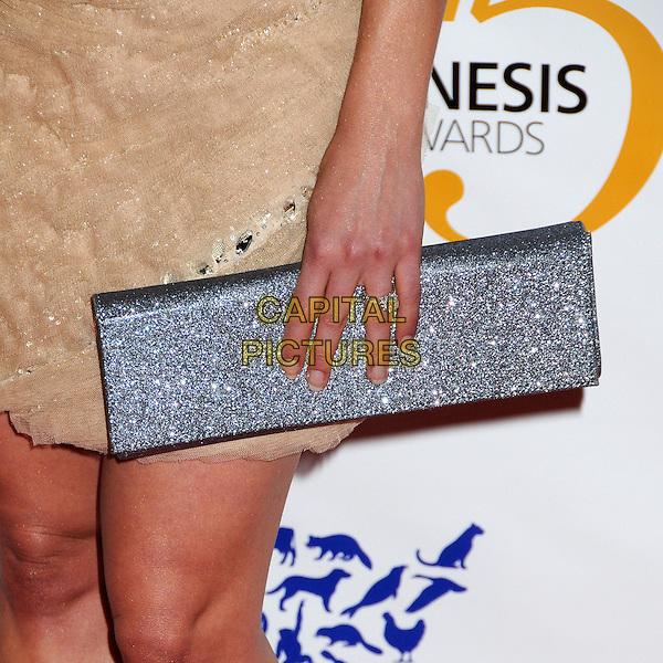 SALLY PRESSMAN's clutch bag .25th Anniversary Genesis Awards held at the Hyatt Regency Century Plaza, Century City, California, USA, .19th March 2011..detail silver hand ring diamond .CAP/ADM/BP.©Byron Purvis/AdMedia/Capital Pictures.