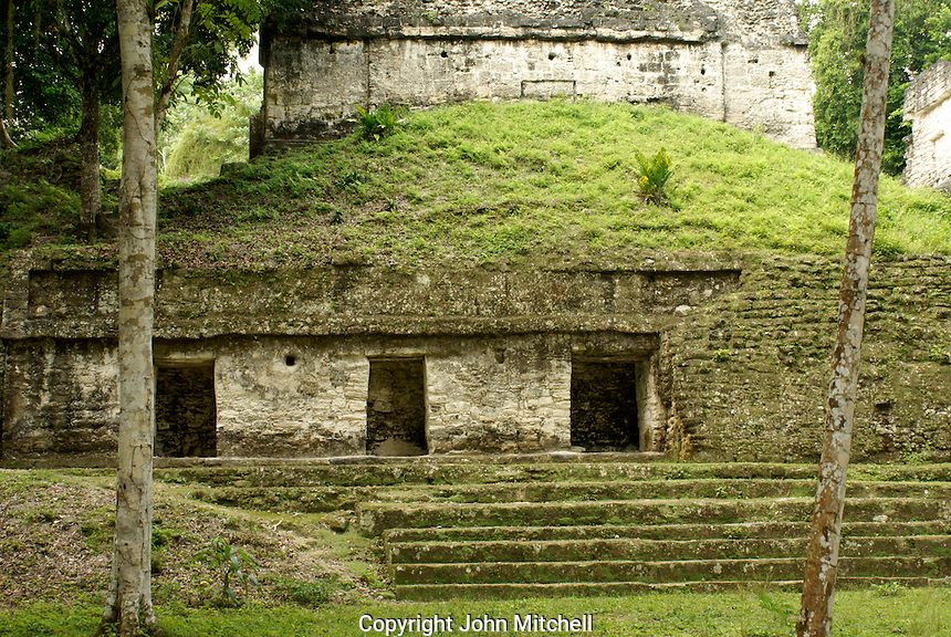 Building in the Seven Temples complex, Maya ruins of Tikal, El Peten, Guatemala. Tikal is a UNESCO World Heritage Site....