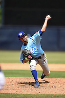 Daytona Cubs pitcher Andrew McKirahan (37) delivers a pitch during a game against the Tampa Yankees  on April 13, 2014 at George M. Steinbrenner Field in Tampa, Florida.  Tampa defeated Daytona 7-3.  (Mike Janes/Four Seam Images)