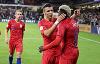 ORLANDO, FL - NOVEMBER 15: Gyasi Zardes #9 of the United States scores a goal and celebrates with Alfredo Morales #15 during a game between Canada and USMNT at Exploria Stadium on November 15, 2019 in Orlando, Florida.