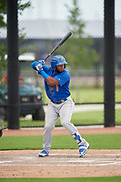 GCL Mets left fielder Anderson Bohorquez (1) at bat during a game against the GCL Nationals on August 4, 2018 at FITTEAM Ballpark of the Palm Beaches in West Palm Beach, Florida.  GCL Nationals defeated GCL Mets 7-4.  (Mike Janes/Four Seam Images)