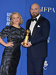 Arianne Sutner, Chris Butler 160 poses in the press room with awards at the 77th Annual Golden Globe Awards at The Beverly Hilton Hotel on January 05, 2020 in Beverly Hills, California.