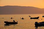 Sonnenuntergang über der Insel Cres von Glavotok aus gesehen; Sunset over the island of Cres, seen from Glavotok, Krk Island, Dalmatia, Croatia. Insel Krk, Dalmatien, Kroatien. Krk is a Croatian island in the northern Adriatic Sea, located near Rijeka in the Bay of Kvarner and part of the Primorje-Gorski Kotar county. Krk ist mit 405,22 qkm nach Cres die zweitgroesste Insel in der Adria. Sie gehoert zu Kroatien und liegt in der Kvarner-Bucht suedoestlich von Rijeka.