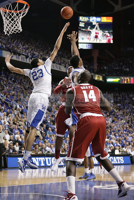 UK forward Anthony Davis attempts to block Alabama forward Nick Jacobs' shot during the first half of UK's game against Alabama at Rupp Arena in Lexington, Ky. Jan. 21, 2012. Photo by Brandon Goodwin | Staff