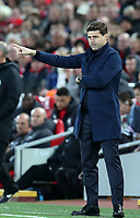 27th October 2019; Anfield, Liverpool, Merseyside, England; English Premier League Football, Liverpool versus Tottenham Hotspur; Tottenham Hotspur manager Mauricio Pochettino gives instructions to his players from the technical area - Strictly Editorial Use Only. No use with unauthorized audio, video, data, fixture lists, club/league logos or 'live' services. Online in-match use limited to 120 images, no video emulation. No use in betting, games or single club/league/player publications