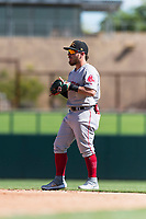 Mesa Solar Sox second baseman Esteban Quiroz (2), of the Boston Red Sox organization, during an Arizona Fall League game against the Glendale Desert Dogs at Camelback Ranch on October 15, 2018 in Glendale, Arizona. Mesa defeated Glendale 8-0. (Zachary Lucy/Four Seam Images)