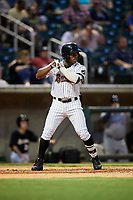 Birmingham Barons center fielder Tito Polo (18) at bat during a game against the Pensacola Blue Wahoos on May 8, 2018 at Regions FIeld in Birmingham, Alabama.  Birmingham defeated Pensacola 5-2.  (Mike Janes/Four Seam Images)