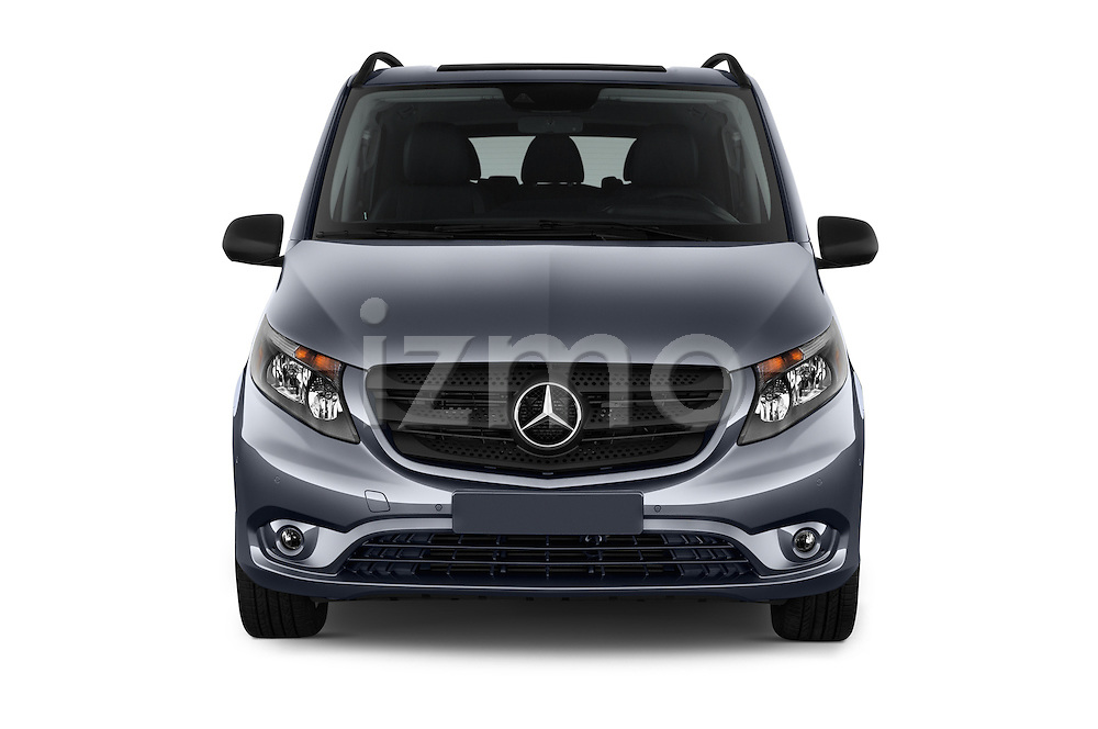 Car photography straight front view of a 2018 Mercedes Benz Metris Passenger-Van 5 Door Passenger Van Front View