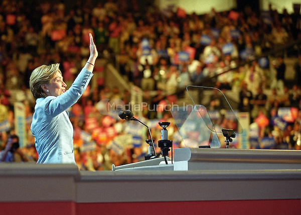 First lady Hillary Rodham Clinton, a candidate for the United States Senate from the State of New York, speaks on the opening night of the 2000 Democratic National Convention in Los Angeles, California, Monday, August 14, 2000. <br /> Credit: Ron Sachs / CNP/MediaPunch
