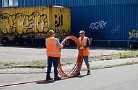 Nederland  Amsterdam 2020. Bij het NDSM terrein worden kabels aangelegd.  Foto mag niet in negatieve context worden gepubliceerd.   Foto Berlinda van Dam / Hollandse Hoogte
