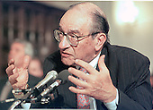 Washington, DC - June 17, 1999 -- U.S. Federal Reserve Chairman Alan Greenspan testifies before a U.S. House Committee on 17 June, 1999.  He testified that there is no sign of worsining inflation but sent a signal that it may be time to nudge short-term interest rates higher to prevent the economy from overheating.<br /> Credit: Ron Sachs / CNP
