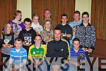 TROPHIES: The Star Kieran Donaghy of the Kerry Team who presented trophies to the Oakpark Community Games partisapants who took part in Mosney, in Na Gaeil GAA club, Tralee on Thursday night: Brian Culhane, Mary Doody, Jimmy O'Riordan, Clodagh Foley, Dara Sheehy, Rachel Patton, Patrick Fitzgibbon, Barry O'Connor, Darragh carmody, Sinead O'Connor, Emer Culhane and Chairman of Oakpark Community Games Donal Daly.............   Copyright Kerry's Eye 2008