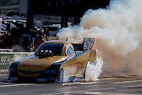 Sep 14, 2013; Charlotte, NC, USA; NHRA funny car driver Del Worsham during qualifying for the Carolina Nationals at zMax Dragway. Mandatory Credit: Mark J. Rebilas-