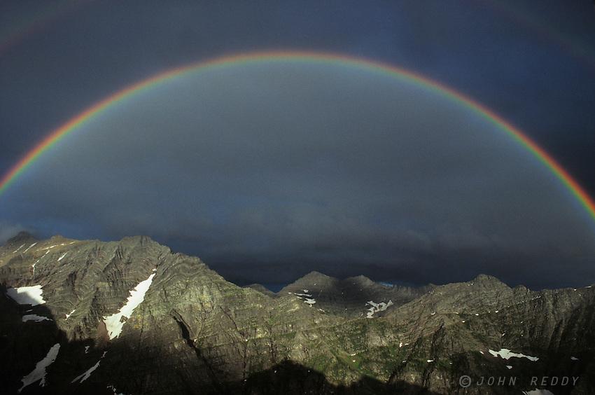 Rainbow from Lincoln Peak, Glacier National Park, Montana, USA