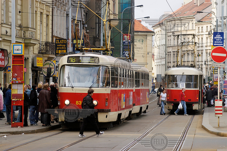 Trams on Spalena Street downtown.