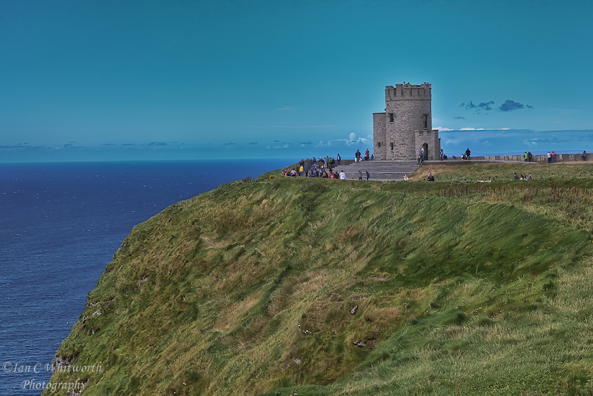 A view of O'Brien's Tower at the Cliffs of Moher on the southwest coast of Ireland.