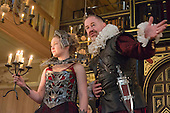 "London, UK. 14 March 2015. Pictured: Owen Teale as Bassanes and Amy Morgan as Penthea. Photocall for the play ""The Broken Heart"" by John Ford at the Sam Wanamaker Playhouse, London, UK. The play is directed by Caroline Steinbeis and runs from 12 March to 18 April 2015 at the Sam Wanamaker Playhouse/Globe Theatre."