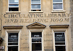 Circulating Library and Reading Room old sign, Milsom Street, Bath