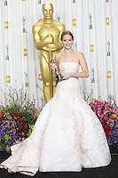 02/24/13 Hollywood, CA: Jennifer lawrence backstage after she won the oscar for best actress in Silver Linings Playbook