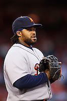 Prince Fielder #28 of the Detroit Tigers during a game against the Los Angeles Angels at Angel Stadium on April 19, 2013 in Anaheim, California. (Larry Goren/Four Seam Images)