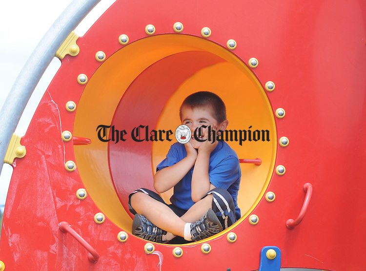 Diarmuid Howard enjoying proceedings at the launch of the new playground at Lees Road. Photograph by Declan Monaghan