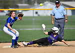 Breese Central player Olivia Wesselmann (13, right) slides safely into second base as Freeburg player Elly Fischer waits for the ball in the first inning. Breese Central High School played at Freeburg High School on Tuesday May 1, 2018. Tim Vizer | Special to STLhighschoolsports.com