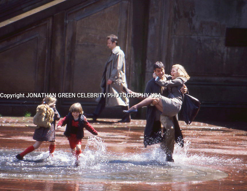 George Clooney &amp; Michelle Pfeiffer 1996 <br /> One Fine Day movie set by Jonathan Green