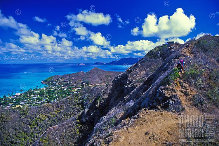 EDITORIAL ONLY. Hikers on Kaiwa Ridge trail above Lanikai, Oahu, windward side