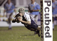Oxford University / Cambridge University.The 25th Pcubed Student Rugby League Varsity Match.Richmond Athletic Ground, March 2, 2005.Pic : Max Flego ...John Bradshaw dives in to score for Oxford