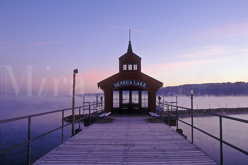 USA, New York, Watkin's Glen, Seneca Lake, Boathouse for Ferry service on Lake Seneca at dawn