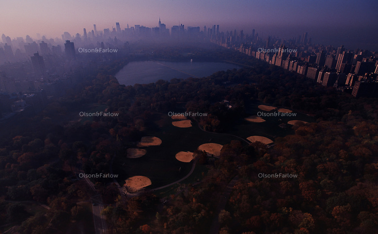 Aerial pictures showing baseball fields and surrounding buildings in Central Park. Picture is made looking south toward Manhattan.