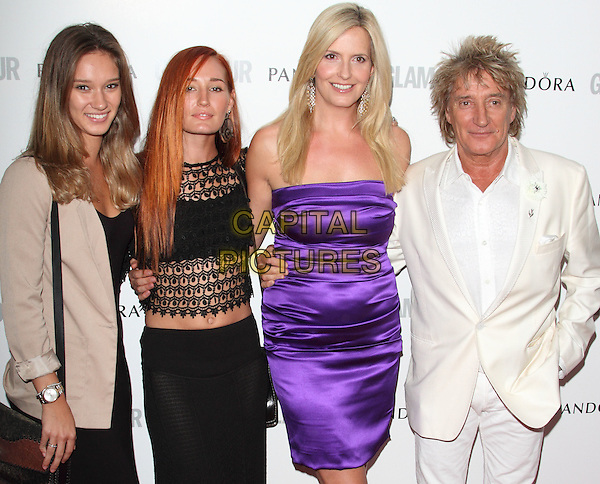 Rod Stewart, Penny Stewart, Ruby Stewart, Renee Stewart.Women Of The Year 2012 - Glamour Awards, Berkeley Square, London, England..29th May 2012.half length beige blazer crochet top skirt purple strapless silk satin dress white suit married husband wife .CAP/ROS.©Steve Ross/Capital Pictures.