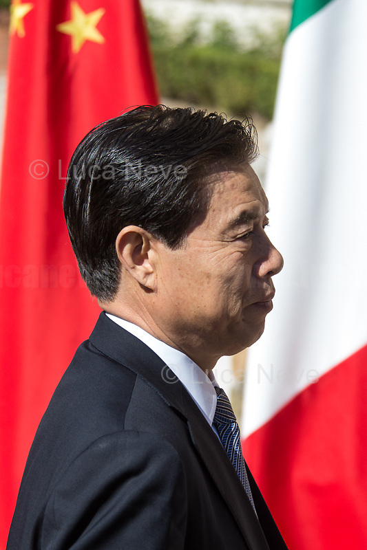 """Zhong Shan (Minister of Commerce and Trade of China). <br /> <br /> Rome, 23/03/2019. The President of the People's Republic of China (General Secretary of the Communist Party of China, and Chairman of the Central Military Commission), Xi Jinping, meets the Italian Prime Minister Giuseppe Conte at Villa Madama during the second day of a three-day State visit to Italy. After the arrival of Xi Jinping greeted with the full honors at the splendid Renaissance Villa designed by Raffaello Sanzio, the Chinese delegation and the Italian delegation led by the Luigi Di Maio (Deputy Prime Minister, Minister of Economic development, Labour and Social Policies, and leader of the Five Star Movement) signed a memorandum of understanding - 29 separate protocols - supporting the """"Belt and Road"""" initiative (part of the """"New Silk Road Project"""") as the first of the Seven major economies in the world. Luigi Di Maio stated that """"the value of individual deals signed amounts to about 2,5 billion euros, with the potential to grow to about 20 billion euros""""."""