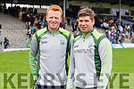 Johnny Buckley and manager Eamonn Fitzmaurice Kerry at the Munster Senior Football Championship at Fitzgerald Stadium in Killarney on Sunday.