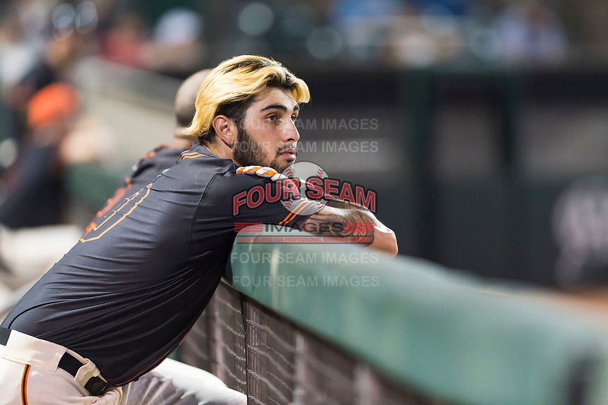 AZL Giants Black designated hitter Frankie Tostado (10) in the dugout during an Arizona League game against the AZL Rangers at Scottsdale Stadium on August 4, 2018 in Scottsdale, Arizona. The AZL Giants Black defeated the AZL Rangers by a score of 6-3 in the second game of a doubleheader. (Zachary Lucy/Four Seam Images)