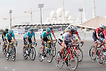 The peloton including Irish National champion Nicolas Roche (IRL) BMC in action during Stage 2 the Nation Towers Stage of the 2017 Abu Dhabi Tour, running 153km around the city of Abu Dhabi, Abu Dhabi. 24th February 2017<br /> Picture: ANSA/Claudio Peri | Newsfile<br /> <br /> <br /> All photos usage must carry mandatory copyright credit (&copy; Newsfile | ANSA)