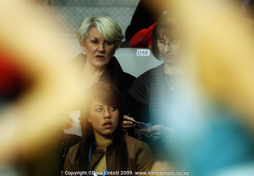 Australian coach Norma Plummer (top left) watches the match during the ANZ Netball Championship match between the Waikato Bay of Plenty Magic and Adelaide Thunderbirds, Mystery Creek Events Centre, Hamilton, New Zealand on Sunday 19 July 2009. Photo: Dave Lintott / lintottphoto.co.nz